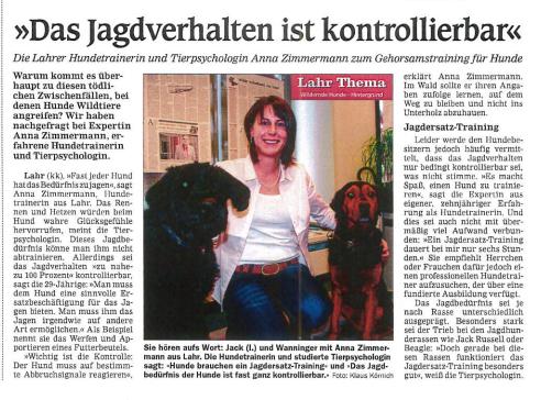 Das Jagdverhalten ist kontrollierbar! Hundetrainerin Anna Zimmermann über das Gehorsamstraining für Hunde.