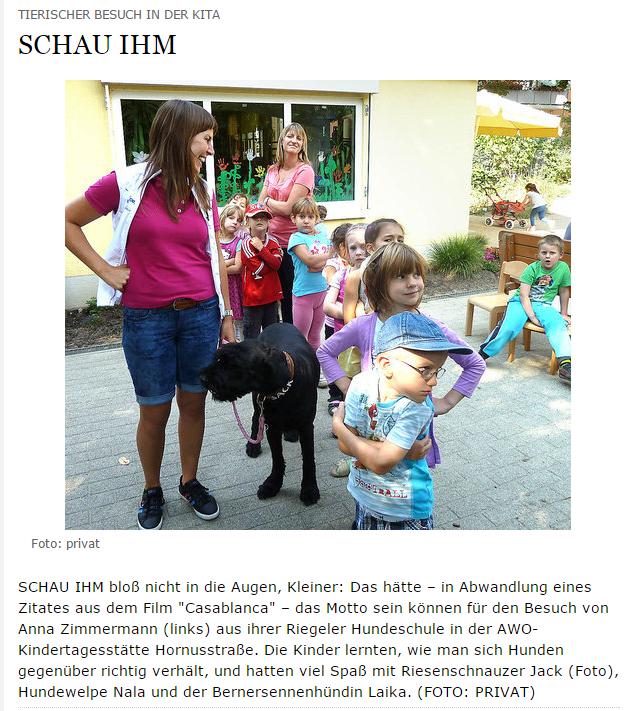Tierischer Besuch in der KITA Freiburg